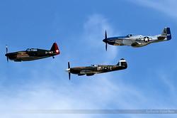 Morane-Saulnier MS.406 J-143 / D-3801, Supermarine 389 Spitfire MkXIX F-AZJS & North American P-51D Mustang F-AZXS